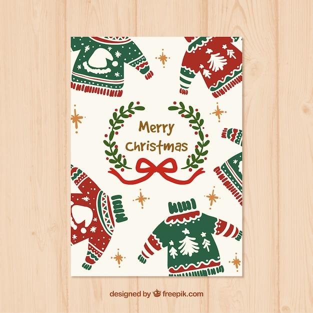 Ręcznie Malowane świąteczne Swetry Karty Premium Wektorów
