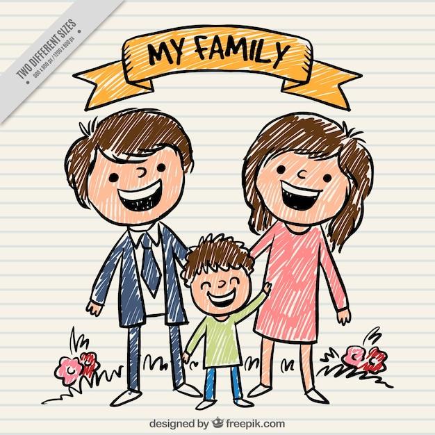 Ręcznie Malowane Tła Szczęśliwa Rodzina Premium Wektorów