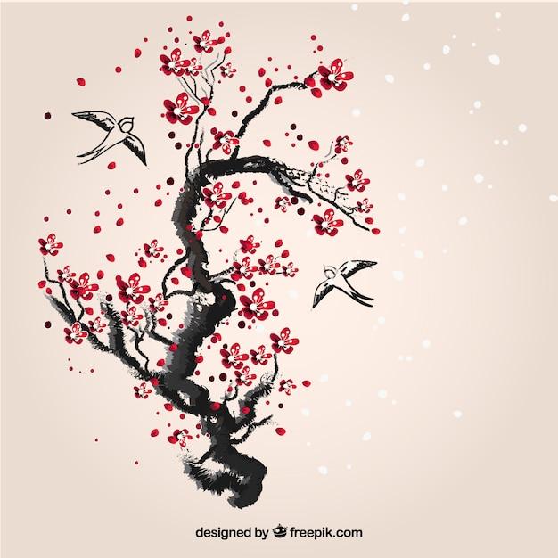 Ręcznie Malowane Wiśniowe Drzewo Darmowych Wektorów