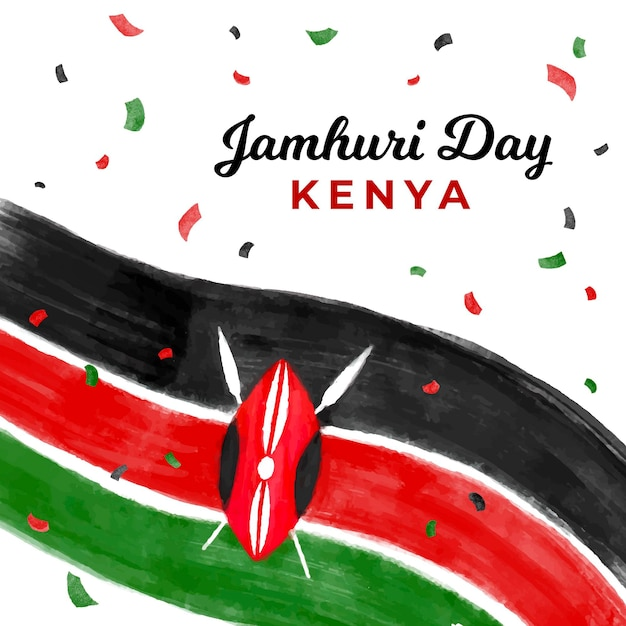 Ręcznie Malowany Narodowy Dzień Jamhuri W Kenii Darmowych Wektorów