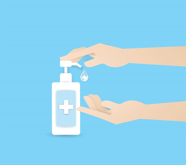 Ręcznie Naciskając Alkohol Lub Zupę W Butelce Na Górze Dwóch Ludzkich Rąk, Umyj Rękę. Higiena Osobista, Opieka Zdrowotna, Ochrona Przed Chorobami, Koronawirus, Covid-19 Premium Wektorów