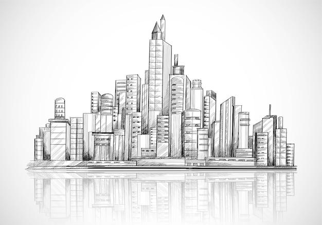Ręcznie Narysować Szkic Panoramę Miasta Darmowych Wektorów