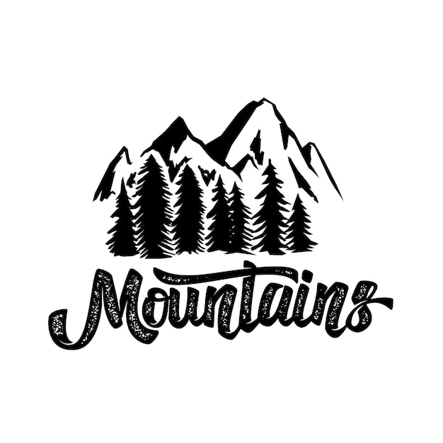 Ręcznie Narysuj Plakat Typografii Pustyni Z Górami I Napisem. Grafika Do Noszenia Hipster. Ilustracja Na Białym Tle Premium Wektorów