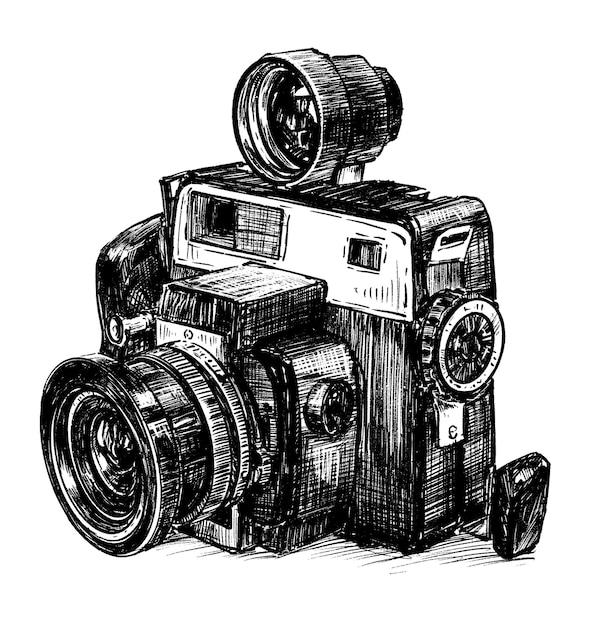 Ręcznie Narysuj Vintage Camra Premium Wektorów