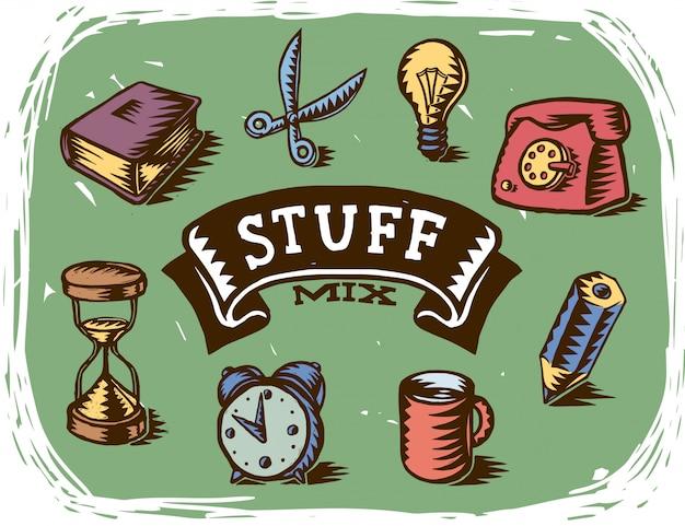 Ręcznie Robione Różne Rysunki Obiektów Biurowych Darmowych Wektorów
