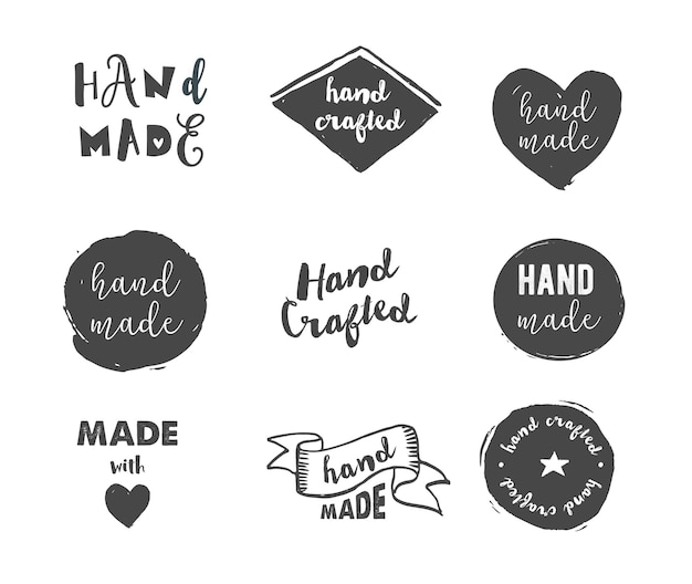 Ręcznie Robione, Rzemieślnicze Warsztaty, Wykonane Z Ikonami Miłości Premium Wektorów