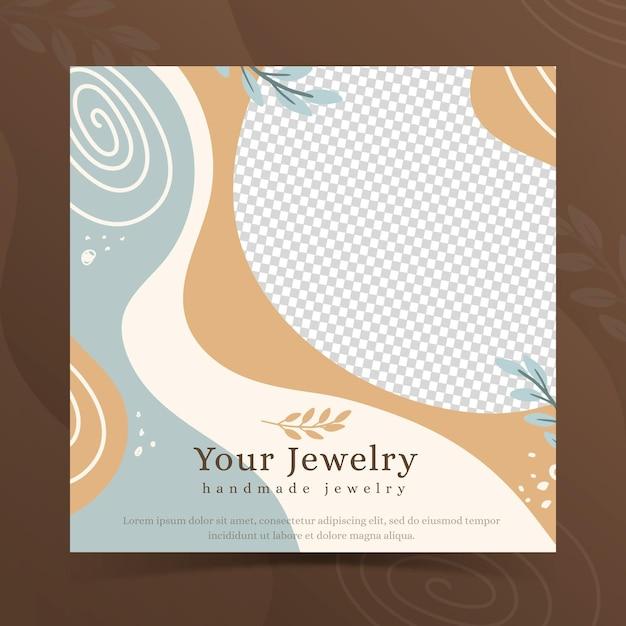 Ręcznie Robiony Szablon Ulotki Kwadratowej Biżuterii Darmowych Wektorów