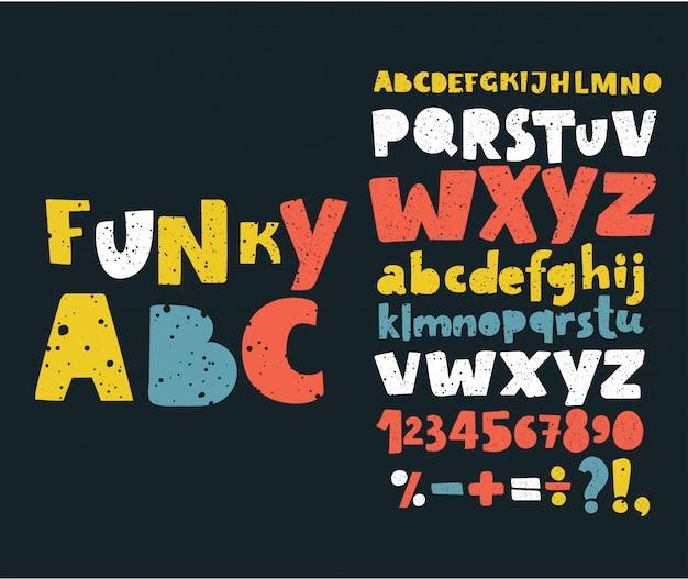 Ręcznie Rysować Doodle Abc, Alfabet Ilustracja Czcionki Typu Scratch Type. Premium Wektorów