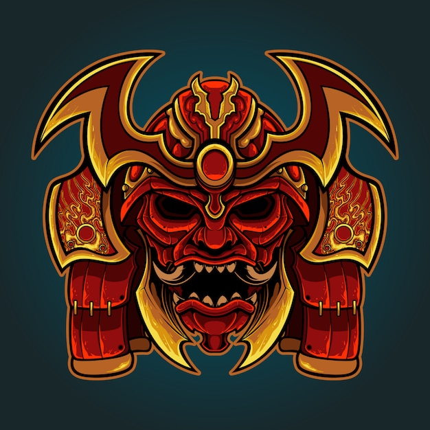 Ręcznie rysować ilustracji głowy samuraja Premium Wektorów
