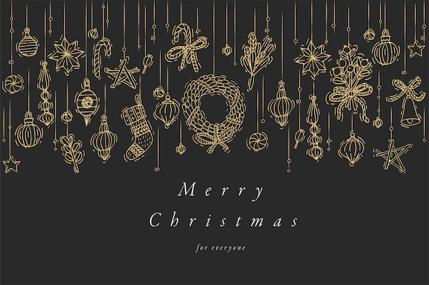 Ręcznie Rysować Projekt Na życzenia świąteczne Kolorowy Kolor. Typografia I Ikona Na Boże Narodzenie Tło, Banery Lub Plakaty I Inne Materiały Do Wydrukowania. Elementy Projektu Ferie Zimowe. Premium Wektorów
