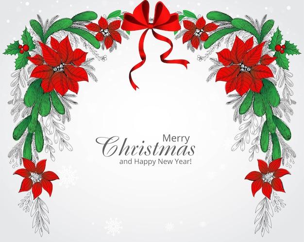Ręcznie Rysować Zdobione Boże Narodzenie Wieniec Tło Kartki świąteczne Darmowych Wektorów