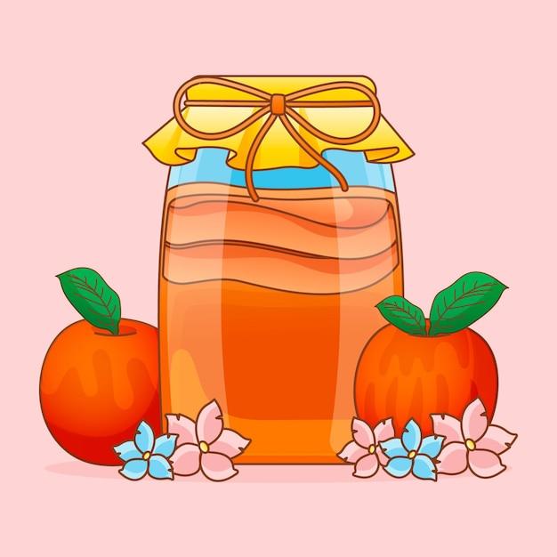 Ręcznie Rysowana Herbata Kombucha Z Owocami Darmowych Wektorów