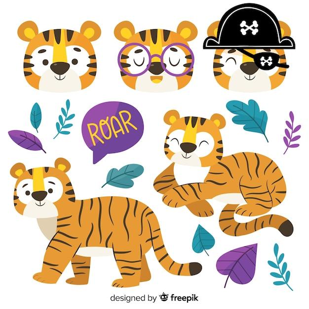 Ręcznie rysowana kolekcja tygrysów kawaii Darmowych Wektorów