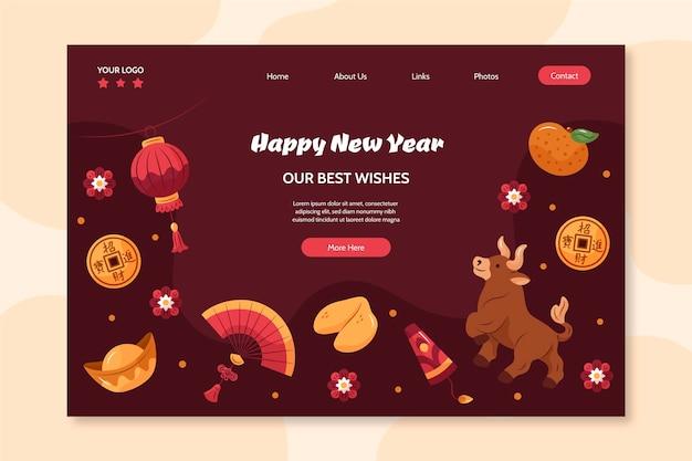 Ręcznie Rysowana Strona Docelowa Na Chiński Nowy Rok Darmowych Wektorów