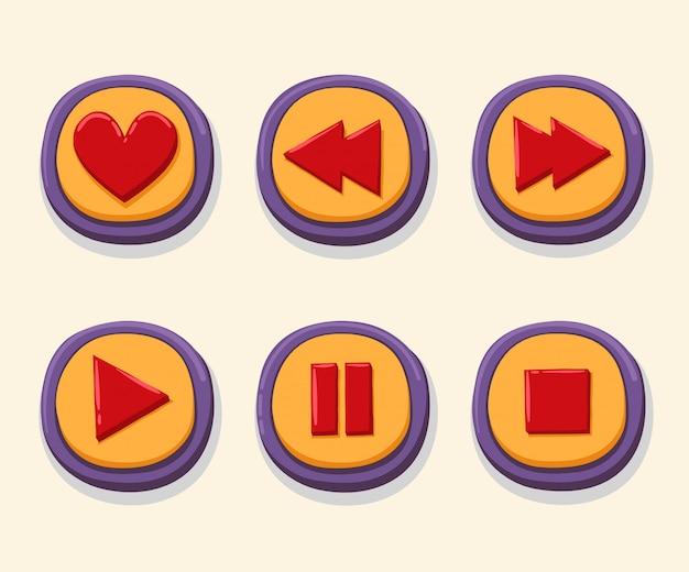 Ręcznie rysowane 3d internetowych przyciski do odtwarzacza muzyki. Premium Wektorów
