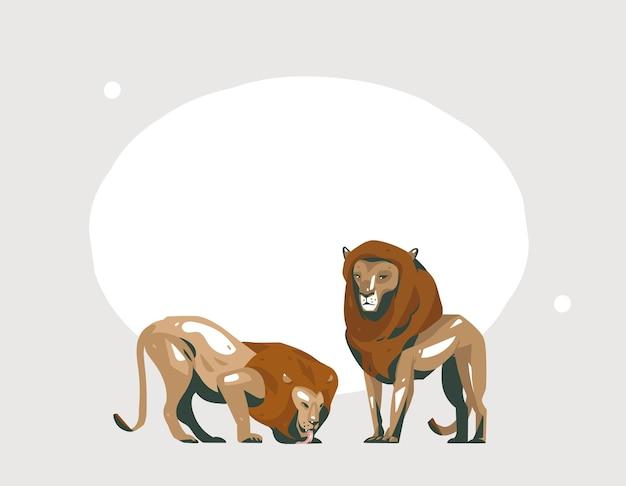 Ręcznie Rysowane Abstrakcyjna Kreskówka Nowoczesna Grafika Afrykańskiego Safari Kolaż Ilustracje Sztuki Baner Ze Zwierzętami Safari Na Pastelowym Kolorze Tła. Premium Wektorów