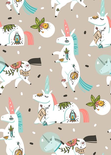 Ręcznie Rysowane Abstrakcyjne Grafiki Kreatywne Ilustracje Kreskówka Artystyczny Wzór Z Jednorożcami Astronautów Z Tatuażem Starej Szkoły, Kwiaty, Planety I Statek Kosmiczny Na Białym Tle Na Pastelowym Tle Premium Wektorów