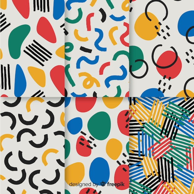 Ręcznie Rysowane Abstrakcyjny Wzór Kolekcji Darmowych Wektorów
