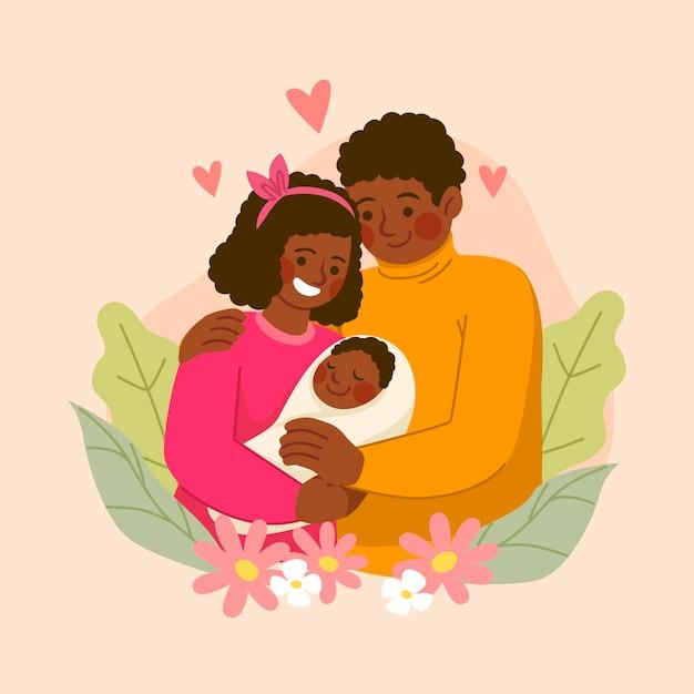 Ręcznie Rysowane Afroamerykańskiej Rodziny Z Dzieckiem Premium Wektorów
