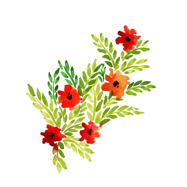 Ręcznie Rysowane Akwarela Kwiatowy Kwiaty I Liście Darmowych Wektorów