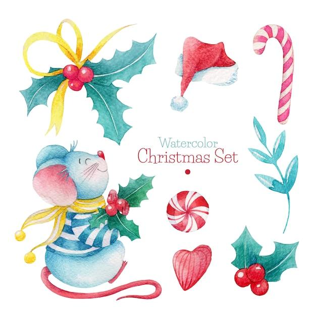 Ręcznie rysowane akwarela zestaw świąteczny Premium Wektorów