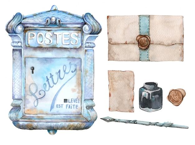 Ręcznie Rysowane Akwarela Zestaw Vintage Skrzynki Pocztowej, Listów, Kałamarz I Długopis Retro Premium Wektorów
