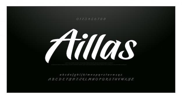 Ręcznie Rysowane Alfabet Czcionki Skryptu. Pędzel Malowany Premium Wektorów