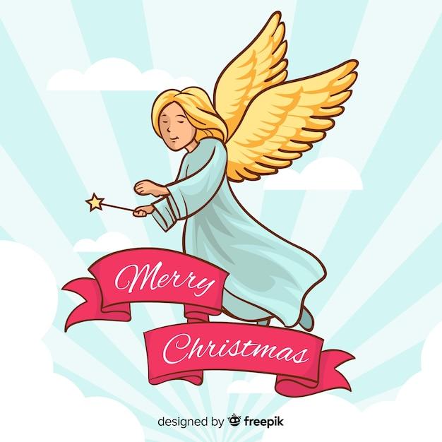 Ręcznie Rysowane Anioł Bożego Narodzenia Ze Skrzydłami Darmowych Wektorów
