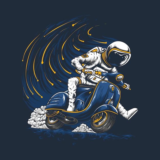 Ręcznie rysowane astronauta na koniu vespa Premium Wektorów
