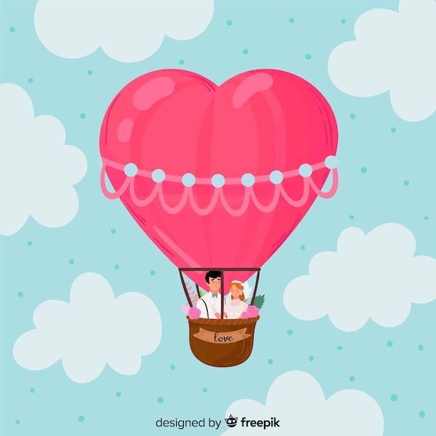Ręcznie rysowane balon serca tło Darmowych Wektorów
