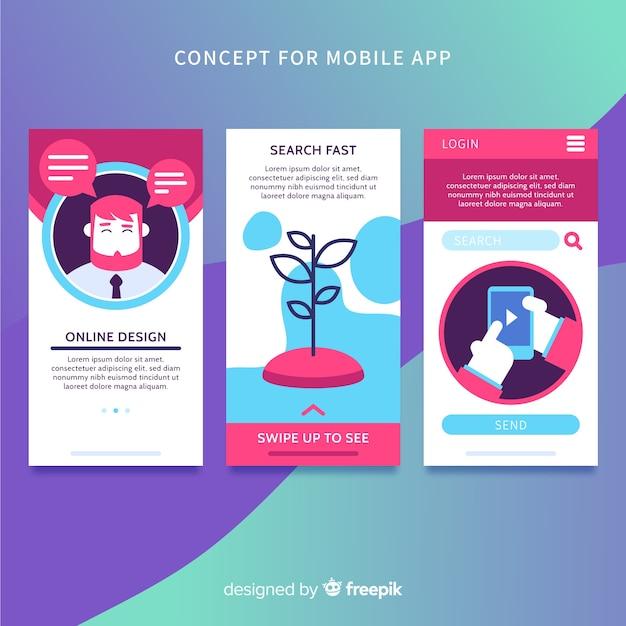 Ręcznie rysowane baner aplikacji mobilnej Darmowych Wektorów