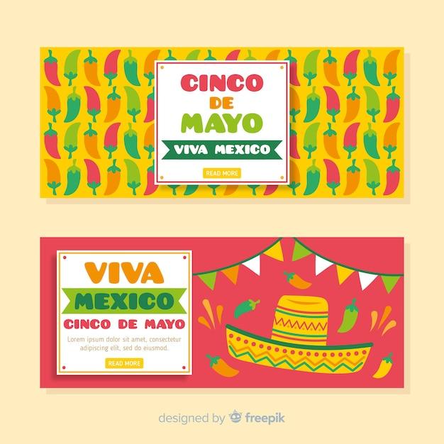 Ręcznie Rysowane Banery Cinco De Mayo Darmowych Wektorów