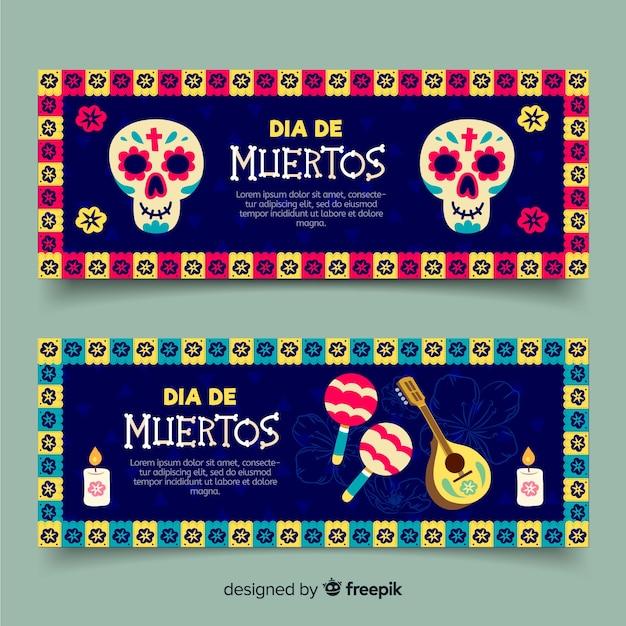 Ręcznie rysowane banery día de muertos Darmowych Wektorów