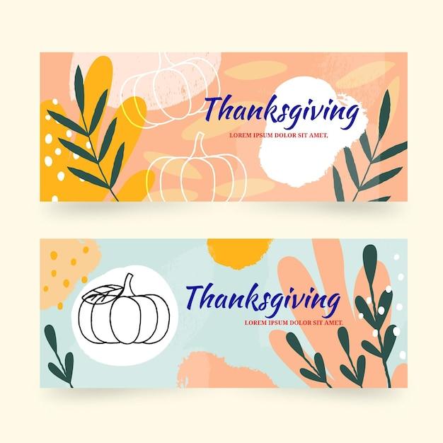 Ręcznie Rysowane Banery Dziękczynienia Darmowych Wektorów