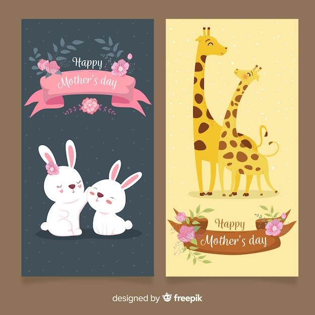 Ręcznie rysowane banery dzień matki Darmowych Wektorów