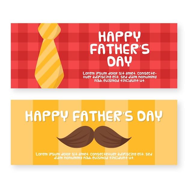 Ręcznie Rysowane Banery Dzień Ojca Darmowych Wektorów