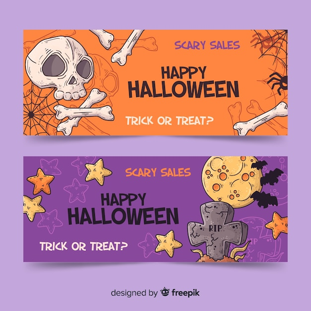 Ręcznie Rysowane Banery Halloween Darmowych Wektorów