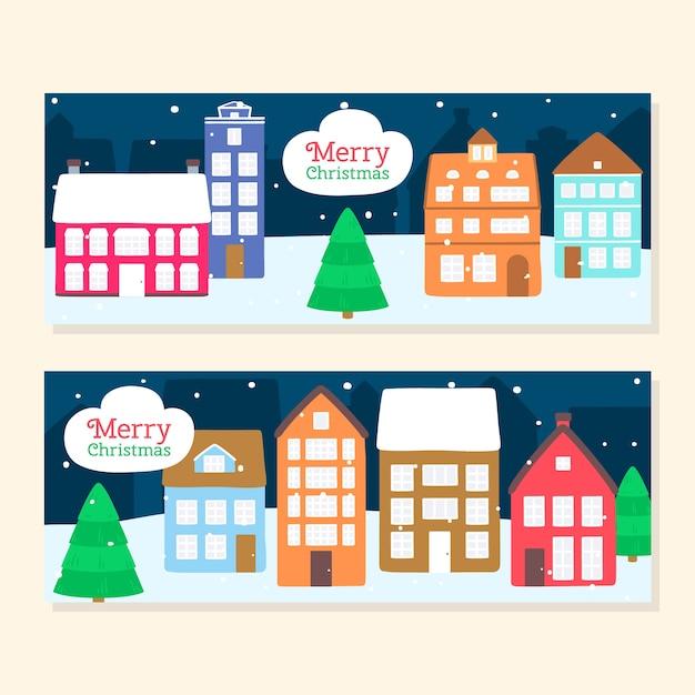 Ręcznie Rysowane Banery Miasto Boże Narodzenie Darmowych Wektorów