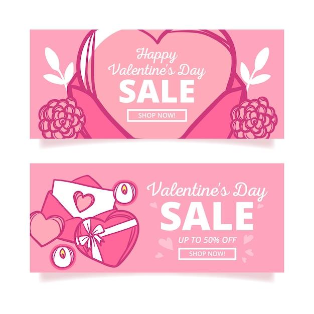 Ręcznie Rysowane Banery Sprzedaż Walentynki Darmowych Wektorów