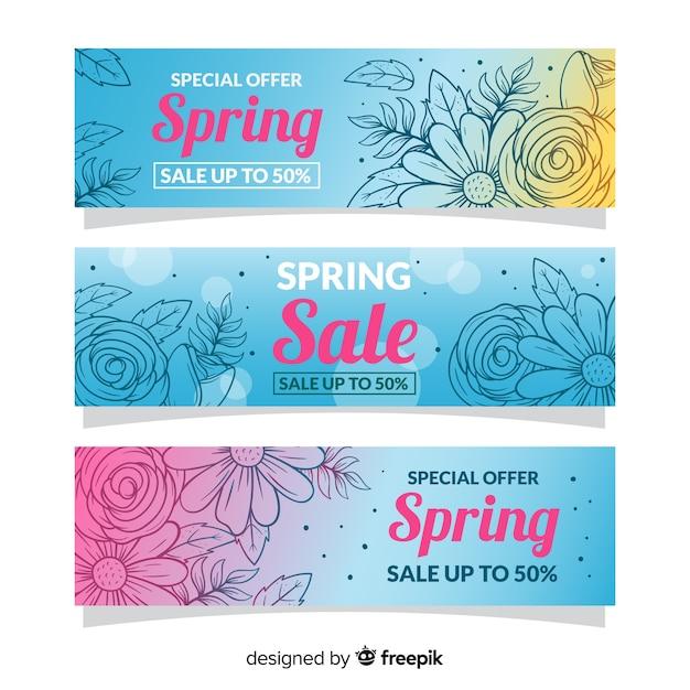 Ręcznie rysowane banery sprzedaży wiosna Darmowych Wektorów