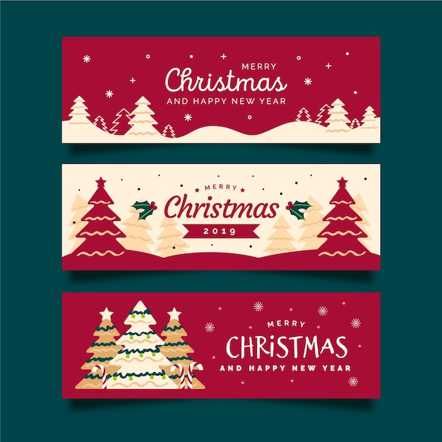 Ręcznie rysowane banery świąteczne z choinki i czerwone tło Darmowych Wektorów