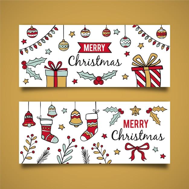 Ręcznie rysowane banery świąteczne Darmowych Wektorów