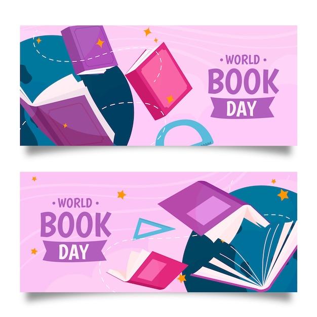 Ręcznie Rysowane Banery światowy Dzień Książki Darmowych Wektorów