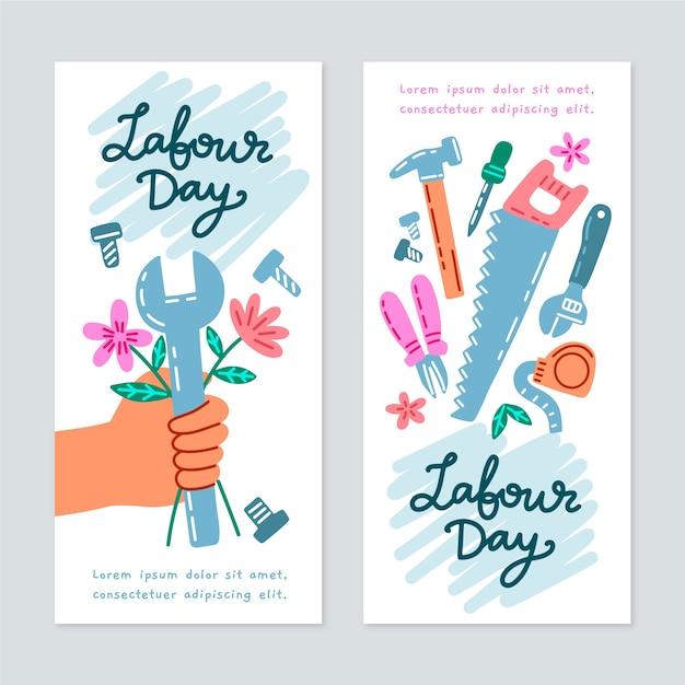 Ręcznie Rysowane Banery święto Pracy Darmowych Wektorów