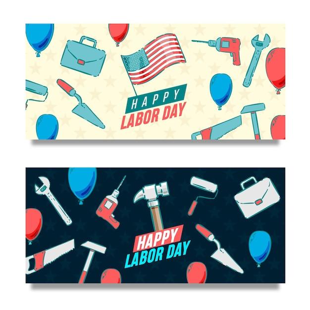 Ręcznie Rysowane Banery Usa Z Okazji Dnia Pracy Darmowych Wektorów