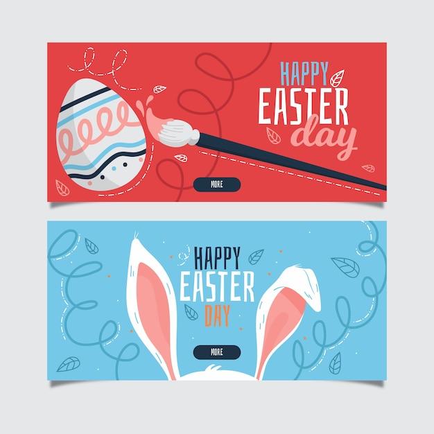 Ręcznie Rysowane Banery Wielkanoc Dzień Darmowych Wektorów