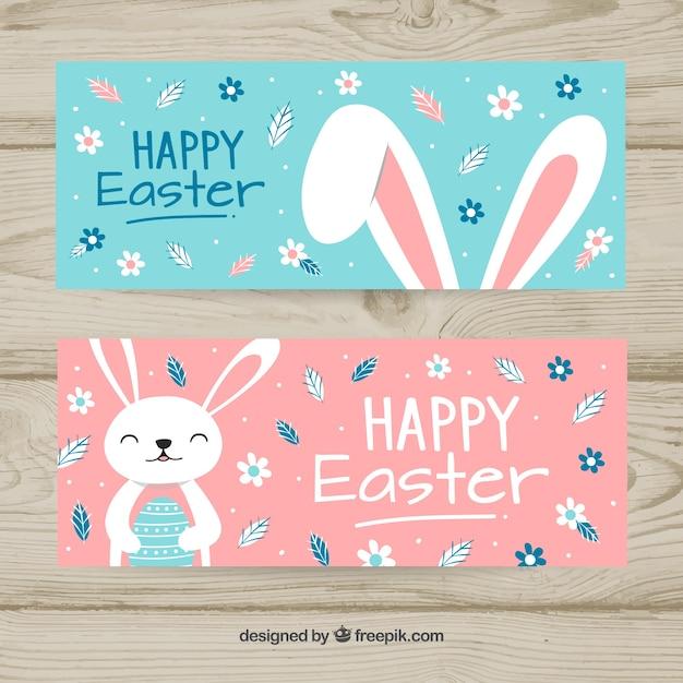Ręcznie Rysowane Banery Wielkanocne Darmowych Wektorów