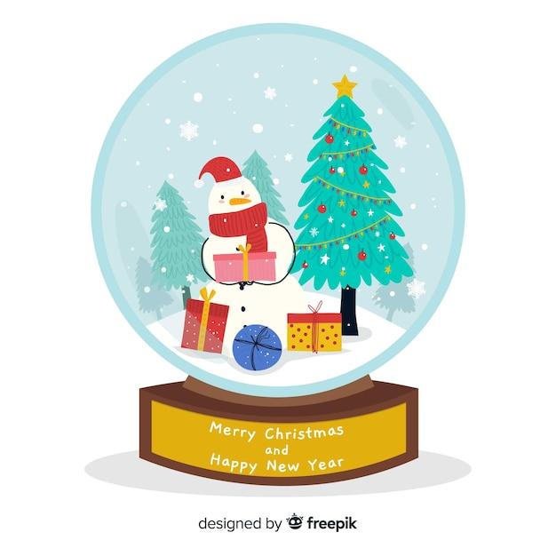 Ręcznie Rysowane Boże Narodzenie Glob śnieżki Darmowych Wektorów