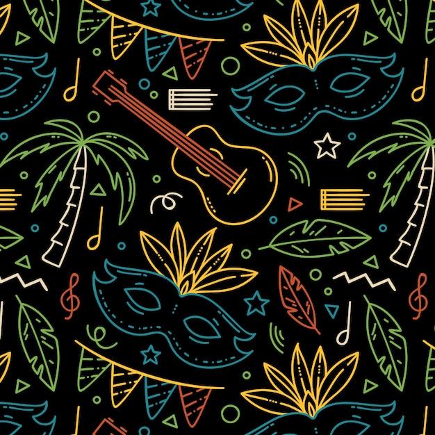 Ręcznie Rysowane Brazylijski Karnawał Wzór Z Instrumentami Muzycznymi Darmowych Wektorów
