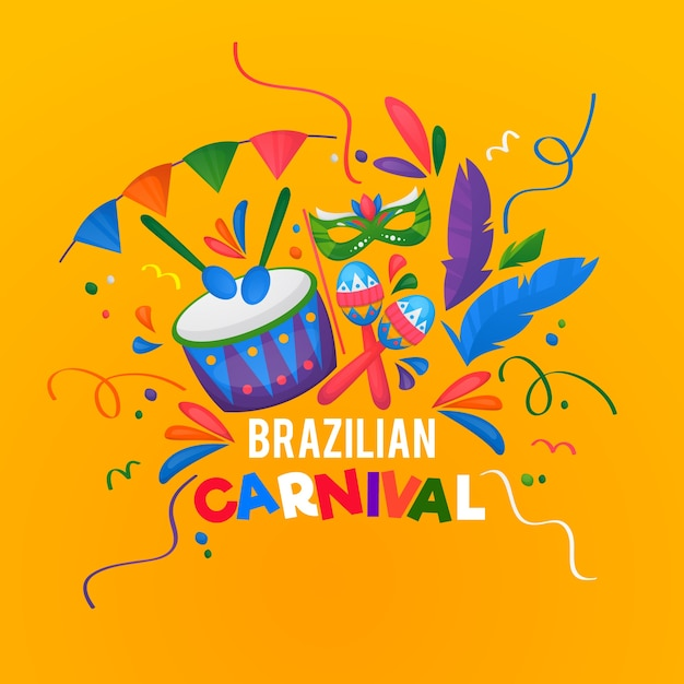 Ręcznie Rysowane Brazylijski Karnawał Darmowych Wektorów